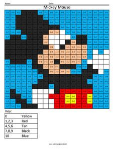 Mickey Mouse addition coloring page