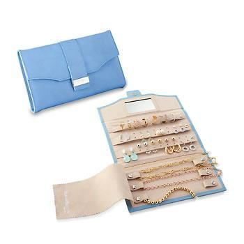 an rs exclusive this cornflower blue faux leather travel jewelry clutch from reed barton