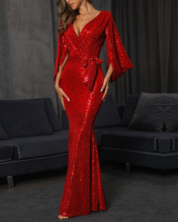 Sequins Slit Bell Sleeve Fishtail Evening Dress (S/M/L/XL) $61.99