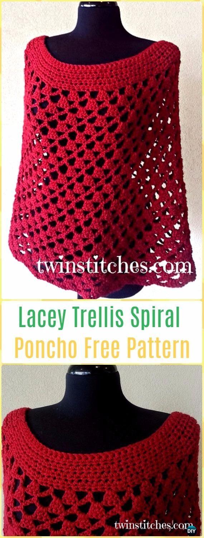 Crochet Crochet Scarlett Spiral Poncho FreePattern - Crochet Women Capes & Poncho Patterns