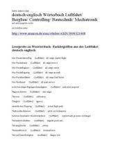 Luftfahrt Fachuebersetzungen Begriffe deutsch-englisch dictionary of aviation german english