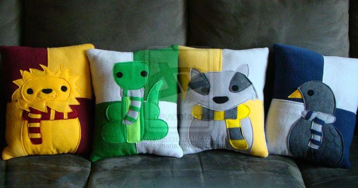 Harry Potter house mascot pillows by Telahmarie.deviantart.com on @deviantART