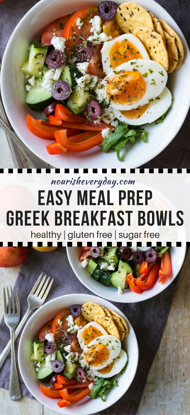 Meal prep breakfast bowls, Greek style! A fresh breakfast salad base topped with boiled eggs, olives and feta. Easy and healthy. Tuck in some crackers and you're all set! #mealprep #breakfastbowl #breakfastsalad #glutenfree