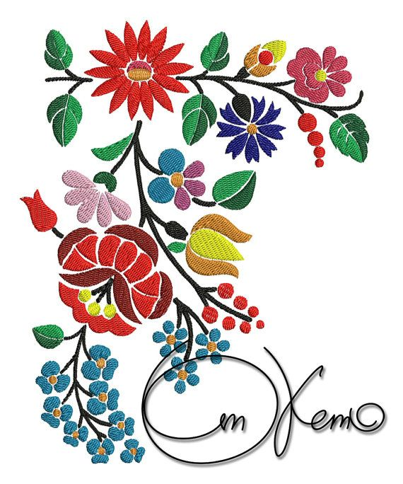 Machine embroidery file hungarian art flowers