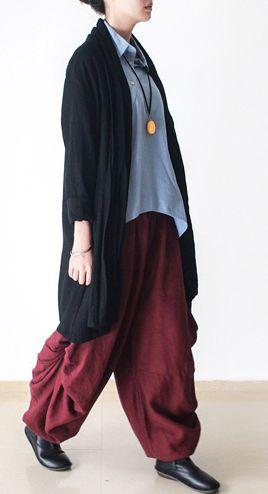 Black plus size linen cardigan women asymmetrical long sleeve coat outwear
