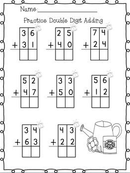 double digit adding subtracting w no regrouping spring printables printables spring and. Black Bedroom Furniture Sets. Home Design Ideas