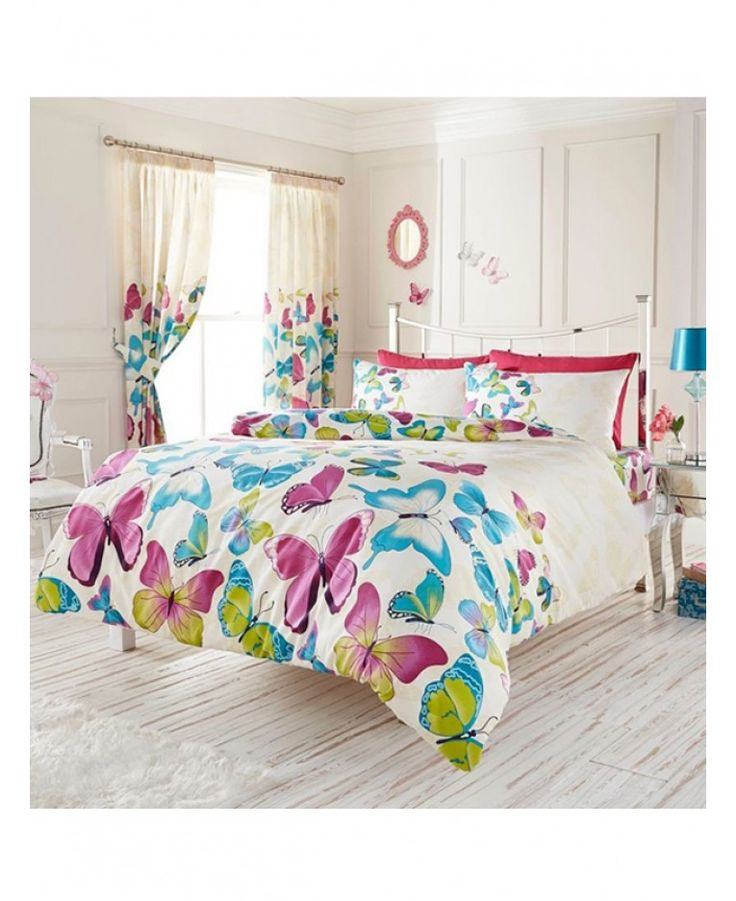Girls of all ages will love this stylish and colourful Fashion Butterfly single duvet cover set. The duvet cover and pillowcase feature a collection of pretty pink, blue and green butterflies set against a white background.