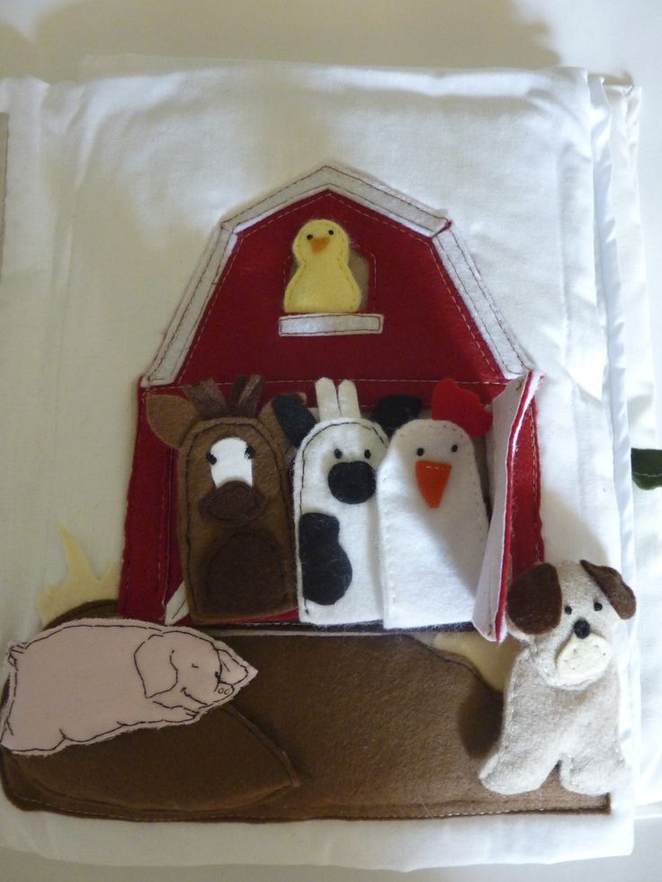 quietbook scene, finger puppets like farm animals,a pig a dog and a chick.
