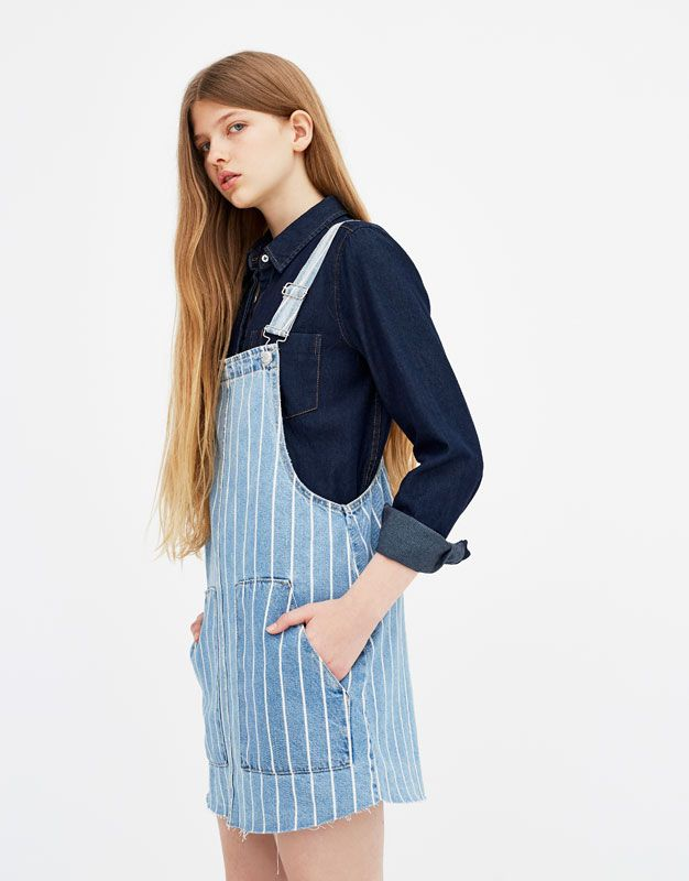 2019 wholesale price many choices of lace up in Striped denim pinafore dress - PULL&BEAR   PULLַַַַ AND ...