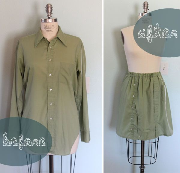 the button up refashion swap | Lazy Saturdays -- skirt from a men's shirt