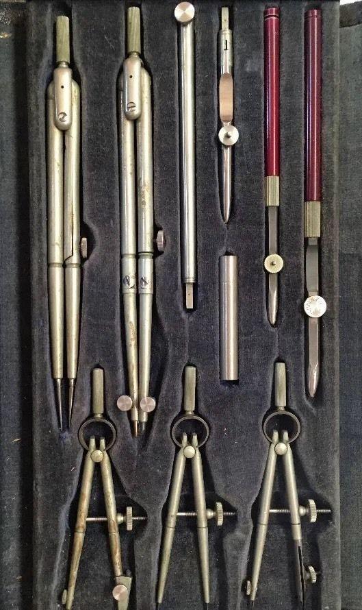 11 Piece Vintage Engineering Case Tool Kit, Compass Mini USA Kueffel Esser Co  | eBay