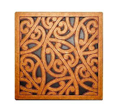 Maori Pattern Tile Art - Wood Art Piece - Tahi