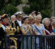 HRH the Crown Princess of Denmark attends the wedding of the Crown Princess of Sweden. She is pictured here surrounded by Princess Máxima of the Netherlands; the Prince of Orange, heir-apparent of the Netherlands; the Crown Princess of Norway; and the Queen of the Netherlands. Crown Prince Frederik of Denmark stands at the far left.: Princesses Máxima, Princesses Mary, Denmark Stands, Prince Frederik, Wedding, Hrh Princesses, Princesses Victoria, Denmark Attendance, Crowns Princesses