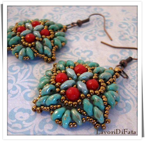 LavoriDiFata: Orecchini turchese-rosso-bronzo...