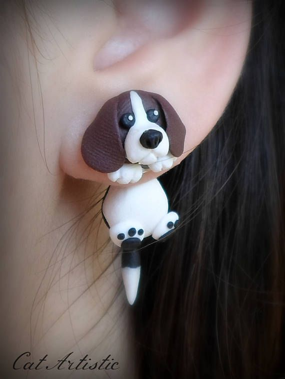 Cute Beagle Dog Earrings two part handmade polymer clay