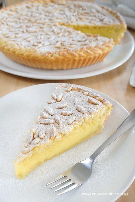 Torta della nonna ricetta perfetta con intreccio della frolla sul bordo - amazing custard and pinenut tart recipe