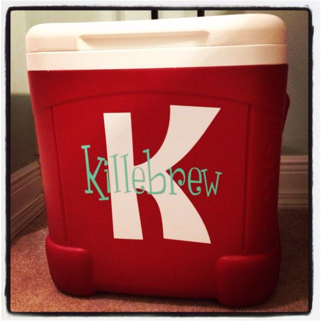 Personalized ice chest with vinyl lettering...these make great gifts! It's be cool for a wedding shower and pack beach stuff or campout stuff or even goodies for the drive in movie date night!