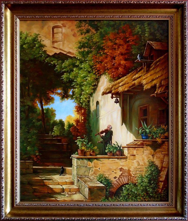 Cisza, Muzyka dla Boga, 66,5cm x 54cm, Obraz olejny na płótnie