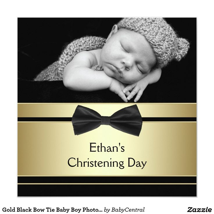 free online christening invitation making%0A Gold Black Bow Tie Baby Boy Photo Christening Card