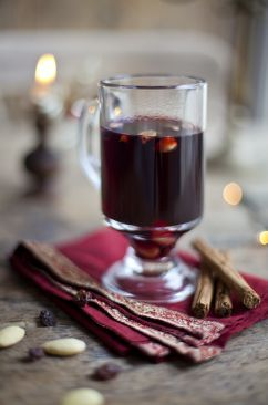 Gløgg is a Danish x-mas drink to keep you warm on cold days. It is heated (not boiled) redwine with cinnamon, cloves, raisin and chopped almonds.