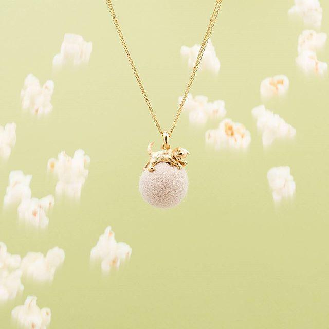 ✨:: The Kitten & Wool Pendant || Cream ::✨ .  .  .  #BillSkinner #kittens #catsofinstagram #cutekittens #craft #wool #woolball #fashionphotography #stilllifephotography #popcorn #styling #playingkittens #cutecats #kittenjewellery #catjewellery #ss17