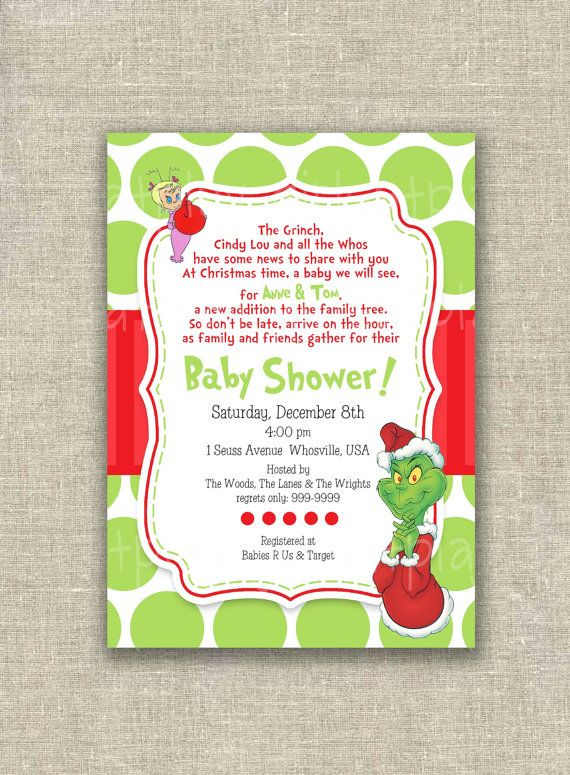Dr Seuss Baby Shower Invitation Christmas Grinch by girlsatplay, $12.00