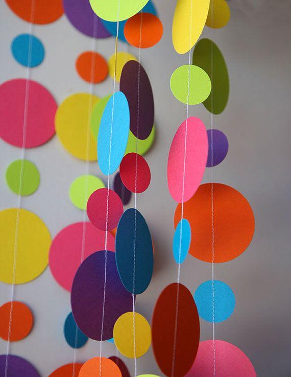 Ghirlanda di carta arcobaleno compleanno di TransparentEsDecor