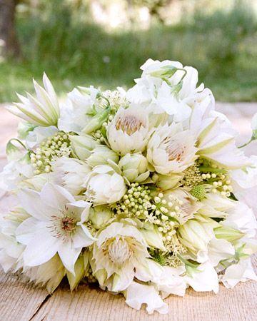 White pink green bouquet