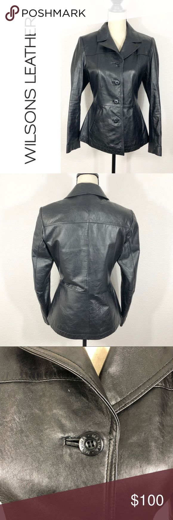 Wilsons Leather Maxima Leather Jacket Black Small EUC