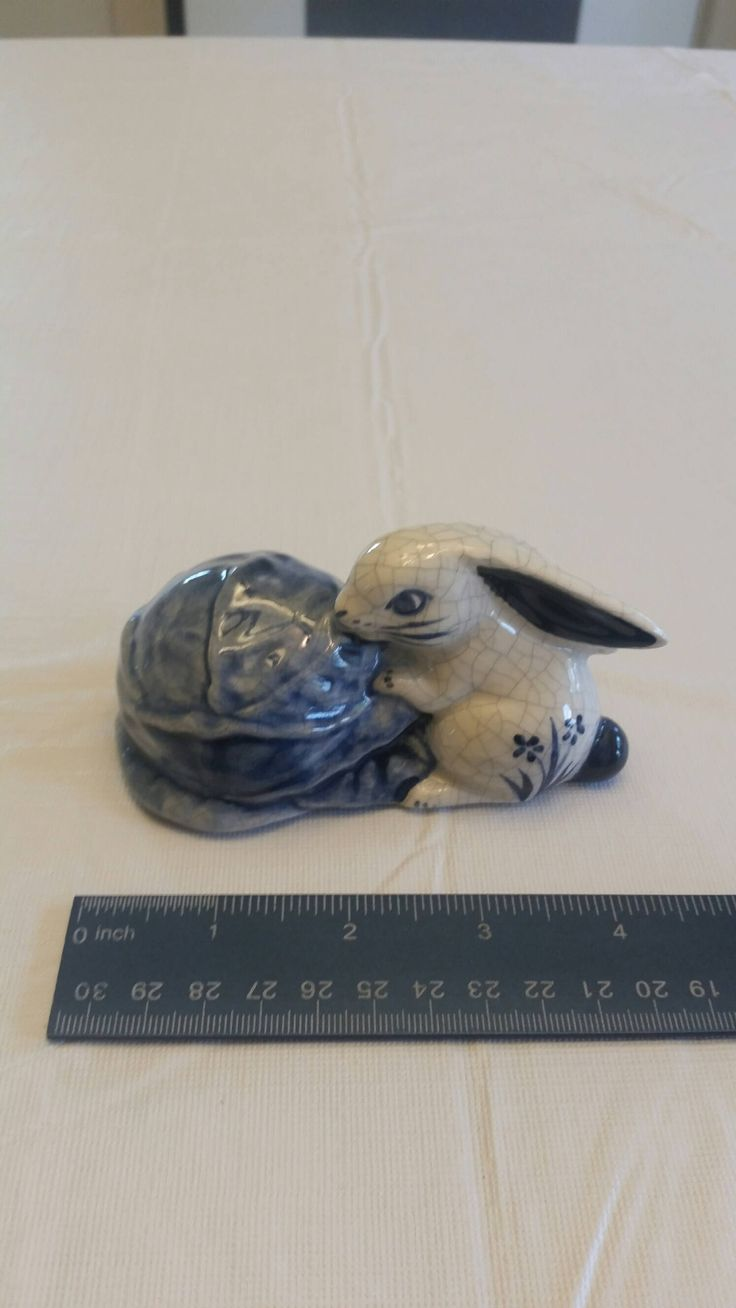 dedham pottery rabbit w/ cabbage by potting shed - bunny easter blue white ceramic signed art figurine statue knick knack collectible by dedhamgirl on Etsy https://www.etsy.com/listing/541452334/dedham-pottery-rabbit-w-cabbage-by