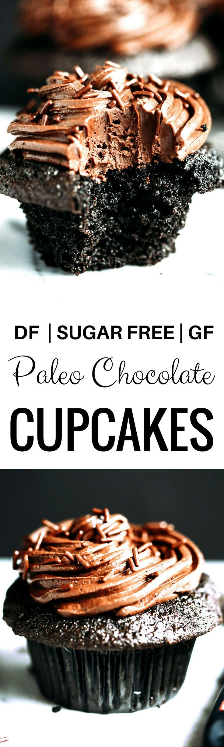 Please use dark chocolate chips!!   Paleo chocolate cupcakes-moist, but not eggy! These paleo cupcakes have a rich, dark chocolate taste and are covered in a whipped dairy free refined sugar free chocolate frosting! Coconut flour cupcakes. Best easy Paleo cupcakes. Paleo cupcakes recipes. Gluten free chocolate cupcakes. Gluten free coconut flour cupcakes. Dairy free healthy cupcakes.