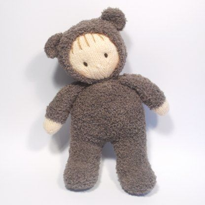 """Jo Jo is snug and warm wearing a cute Teddy Bear All- in- one, romper suit..Teddy Bear Jo-Jo doll is 38cm x;15"""" tall, just the right size for small hands to hold and cuddle."""