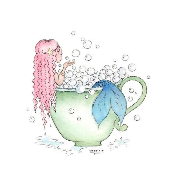 Mermaid Bathtub - Cute bathroom artwork for girls