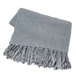 Engen & Engen - Linen throw w. fringes / Dark Grey