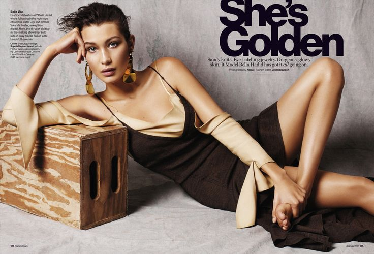 AUGUST-SHE'S GOLDEN Photographer: Alique Stylist: Jillian Davison Hair: Alessandro Rebecchi Make-up: Frankie Boyd Model: Bella HadidNone