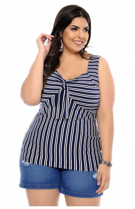 Blusa Plus Size Listras e Amarração em 2019  33d033b8539