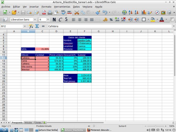 Practica paraaprender a  usar el programa Calc, manejar información, estructurándola en la hoja, realizar cálculos en función de distintas variables, permitiendo buscar datos entre las distintas hojas.