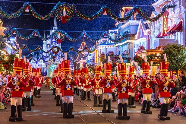 The Toy Soldier Band leads the Once Upon a Time Christmas Parade at Mickey's Very Merry Christmas Party