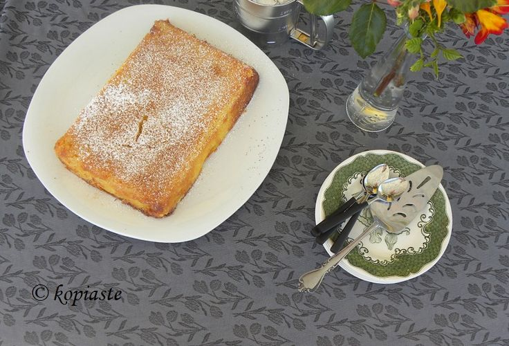 "Galatopita, which means milk pie, is an Ancient Greek dessert, named ""Amis"" (amis , genitive amitos) , which is a kind of baked pudding, mentioned in Aristophanes', Ploutos 981, Antiphon In ""Dysprato"" 1, Menand . en ""Ypovolimaio 11"", etc."