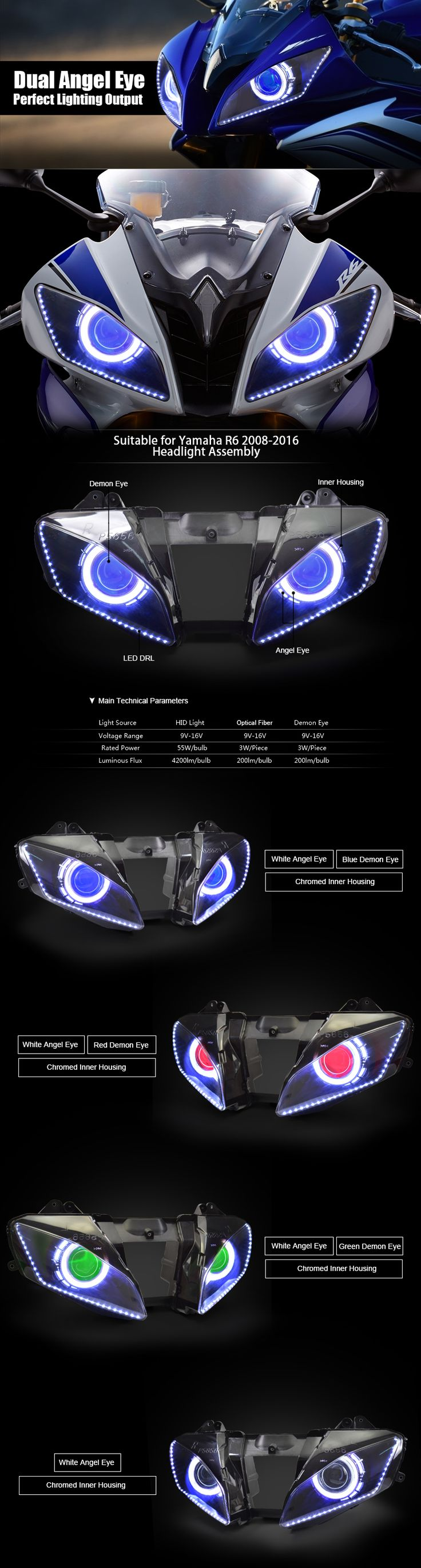 Yamaha R6 Angel Eye HID Projector Headlight Assembly 2008-2016
