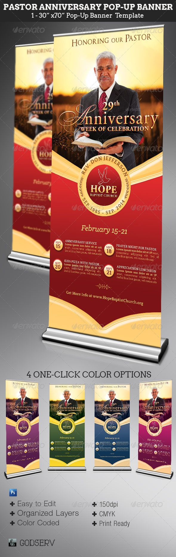 "Pastor Anniversary Pop-Up Banner Template  - $6.0 The Pastor Anniversary Pop-Up Banner Template is for church pastor anniversary celebration and appreciation events. Can also be edited and used for event promotions like men's conventions etc. The template is Easy To Edit. All you need to do is, ""Edit, Save, Print"""
