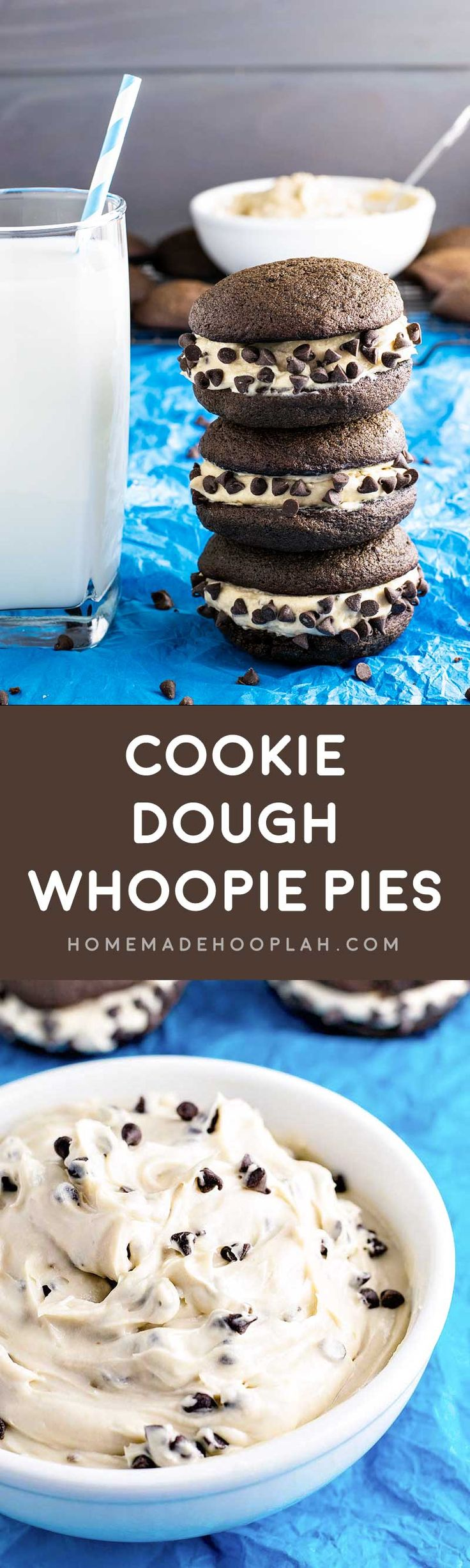 Cookie Dough Whoopie Pies! Creamy (eggless) cookie dough sandwiched between two chocolate cake cookies. A perfect indulgently sweet finger food! | HomemadeHooplah.com