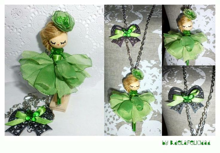 Collar-broche de muñeca/ Doll brooch and necklace de De la felicidad........ por DaWanda.com