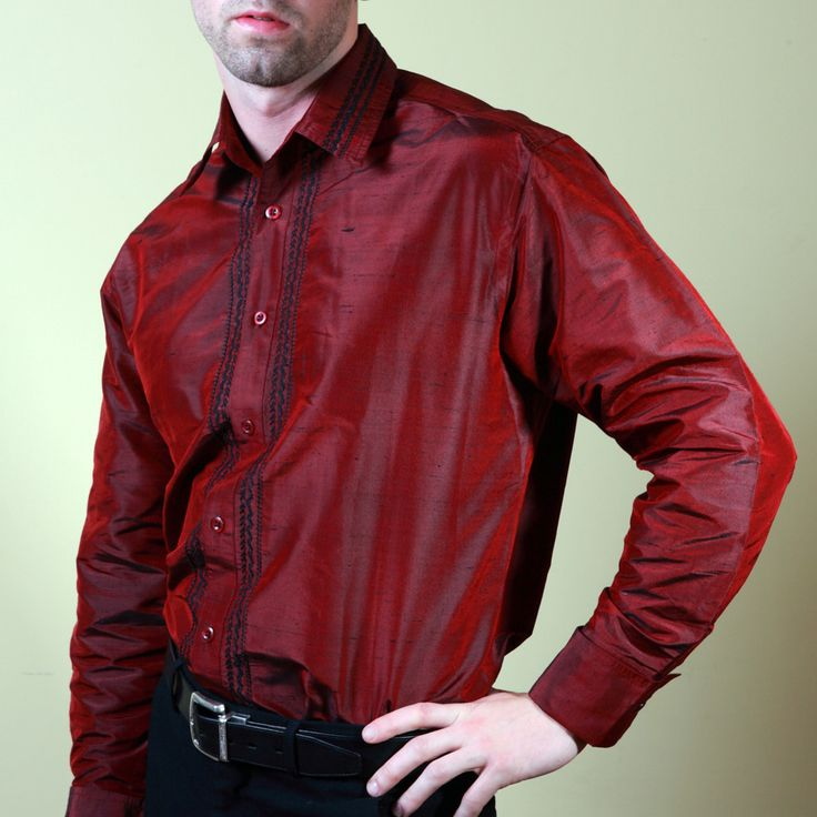 Nawab Red Embroidered Mens Silk Shirt
