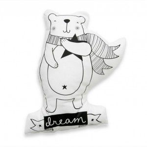 Love & dream bear cushion #ohswag #kidscushion #nurserydecor #monochromedecor