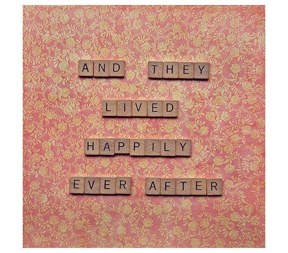 Amour citation art - et ils vécurent heureux photographie de carrés - amour histoire Saint Valentin anniversaire de mariage - - scrabble amour citation