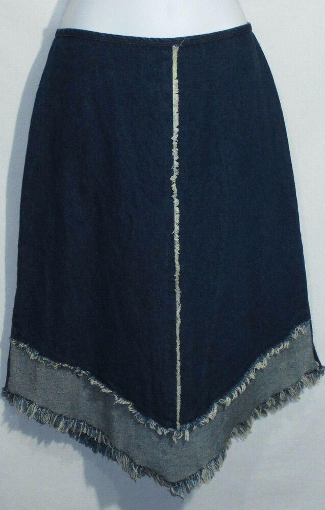 e2977268a Vintage Denim Jean Skirt 1980's Fringe Raw Hem Blue Stretchy Cotton A-Line  Midi