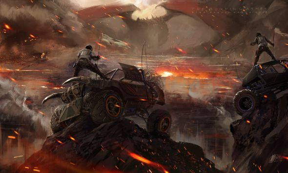 Fantasia e ficção científica nas ilustrações de Sina Pakzad Kasra - Chuva de cinzas e fogo
