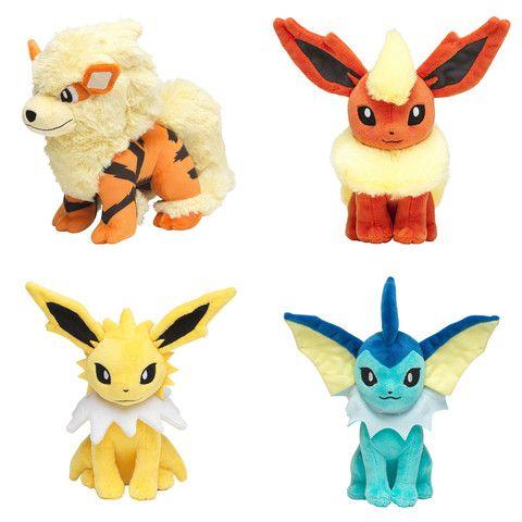 Pokemon Center Plushes - Arcanine, Flareon, Jolteon, Vaporeon
