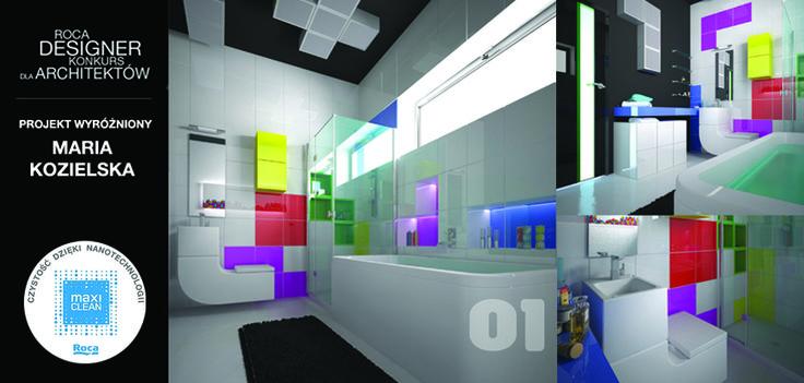 W konkursie Roca Designer, wyróżniliśmy pracę Marii Kozielskiej, która postanowiła zachwycić jury zabawą kolorem. Zaprojektowana przez panią Marię łazienka, z pewnością nie należy do tradycyjnych. Projekt odznacza się doborem kolorystycznym oraz nowoczesnym ujęciem łazienki. W projekcie zostały użyte produkty z powłoką MAXI CLEAN.